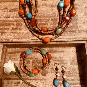 Jewelry - Vintage Boho BAMBOO jewelry set..